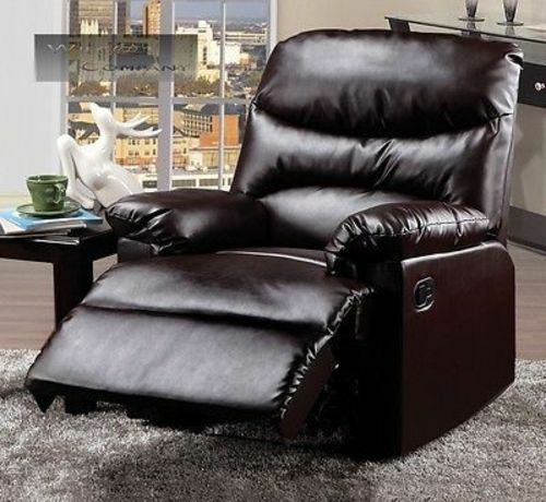 new dark brown leather recliner lazy chair reclining furniture seat home boy ebay. Black Bedroom Furniture Sets. Home Design Ideas