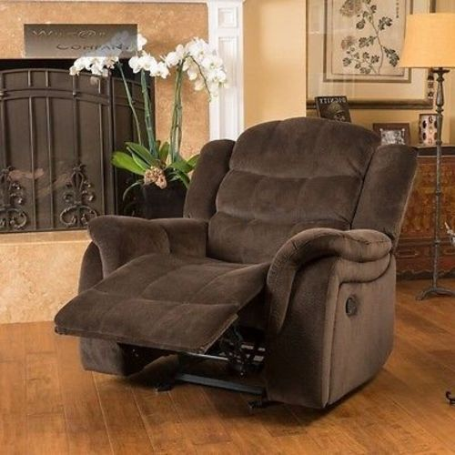 Brown Fabric Recliner Glider Lazy Chair Reclining Seat