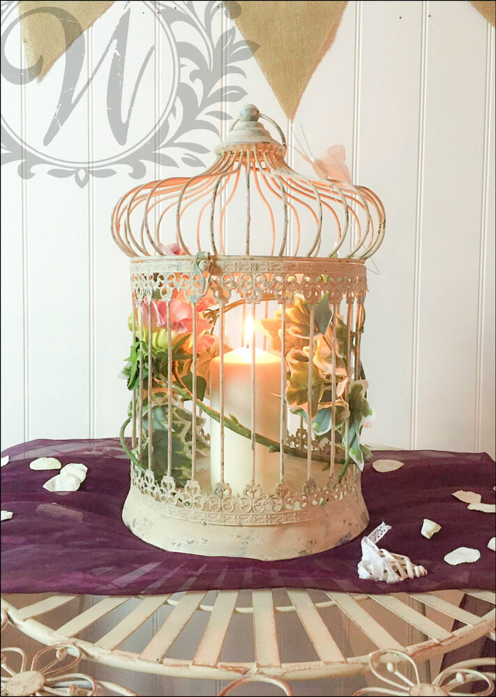 Wedding decorative bird cage centerpiece vintage style