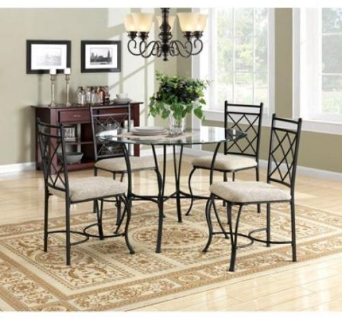 Dining Table Chair 5-Piece Set Round Glass Top Metal