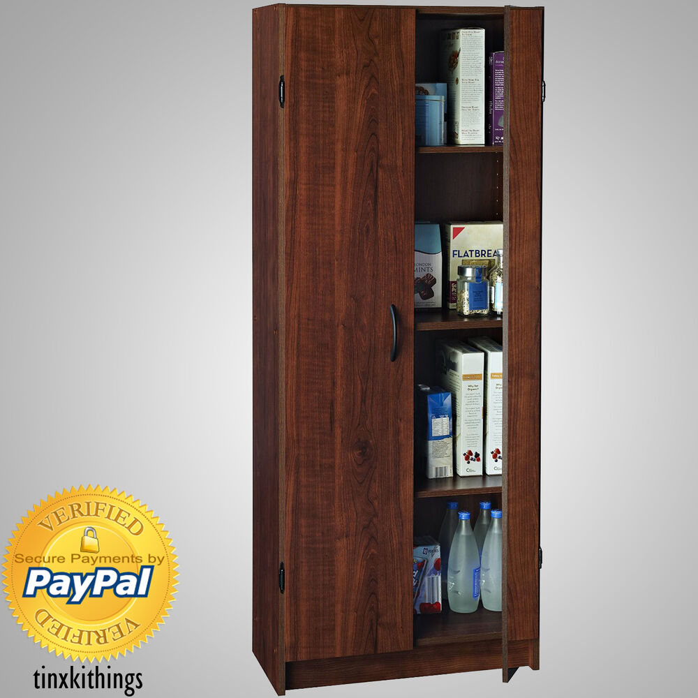 Tall Kitchen Storage Units: Wooden Tall Pantry Cabinet Storage Organizer Kitchen Bath