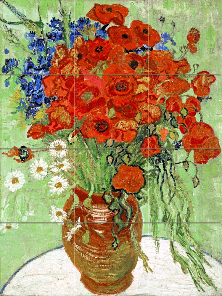 Art van gogh colorful daisies poppies ceramic mural for Mural van gogh