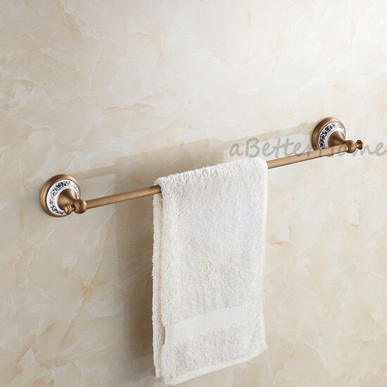 Antique Brass Bathroom Towel Rail Rack Holder Wall Mounted