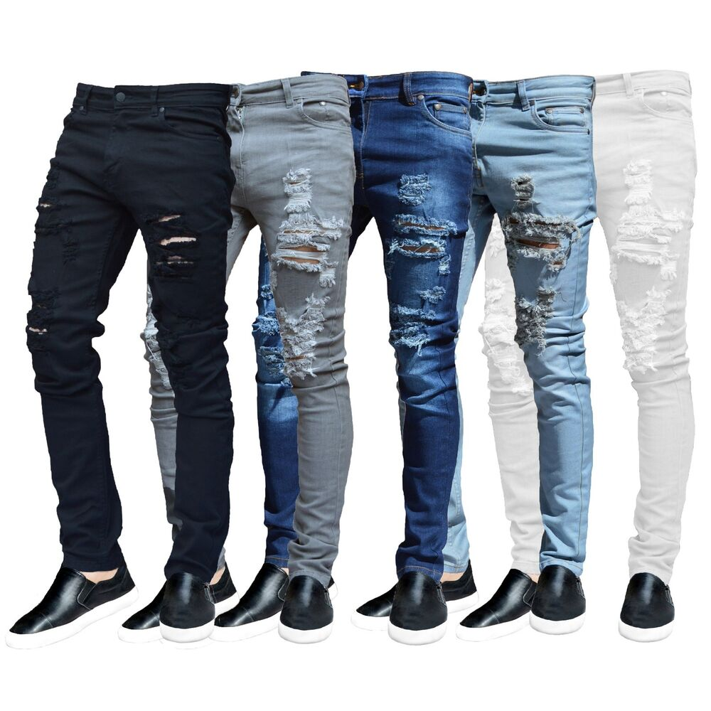 Mens Ripped Slimfit Skinny Jeans Stretch Denim Distress Frayed Biker Jeans Boys | eBay