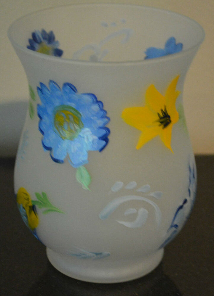 Votive Candle Holder Vase Frosted Blue Yellow Hand Painted Round Floral Ebay