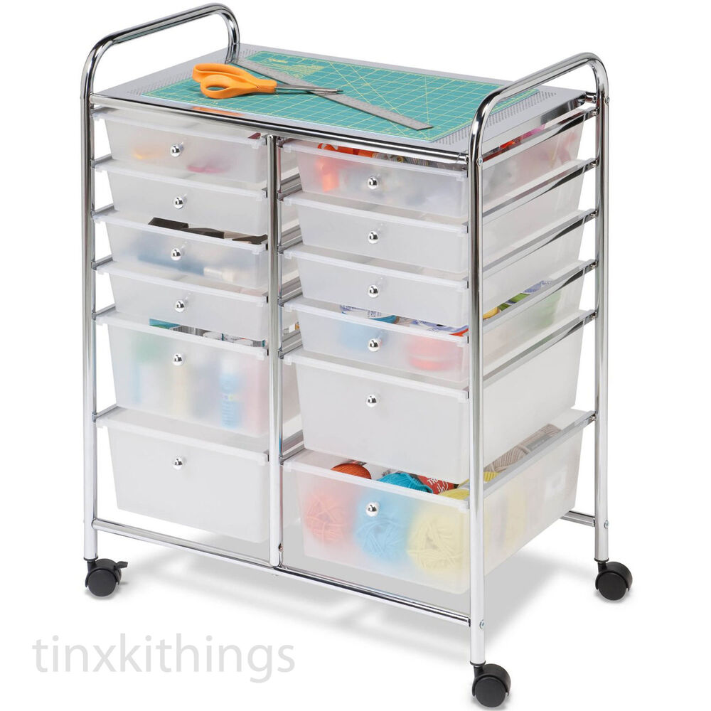 rolling mobile cart drawer organizer storage art craft
