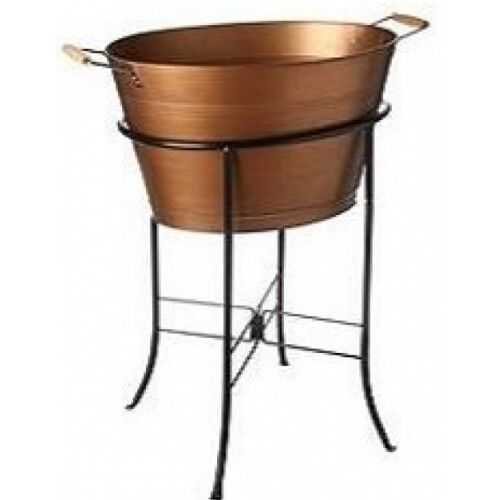 Antique Copper Ice Bucket Oval Party Tub Stand Outdoor Bbq