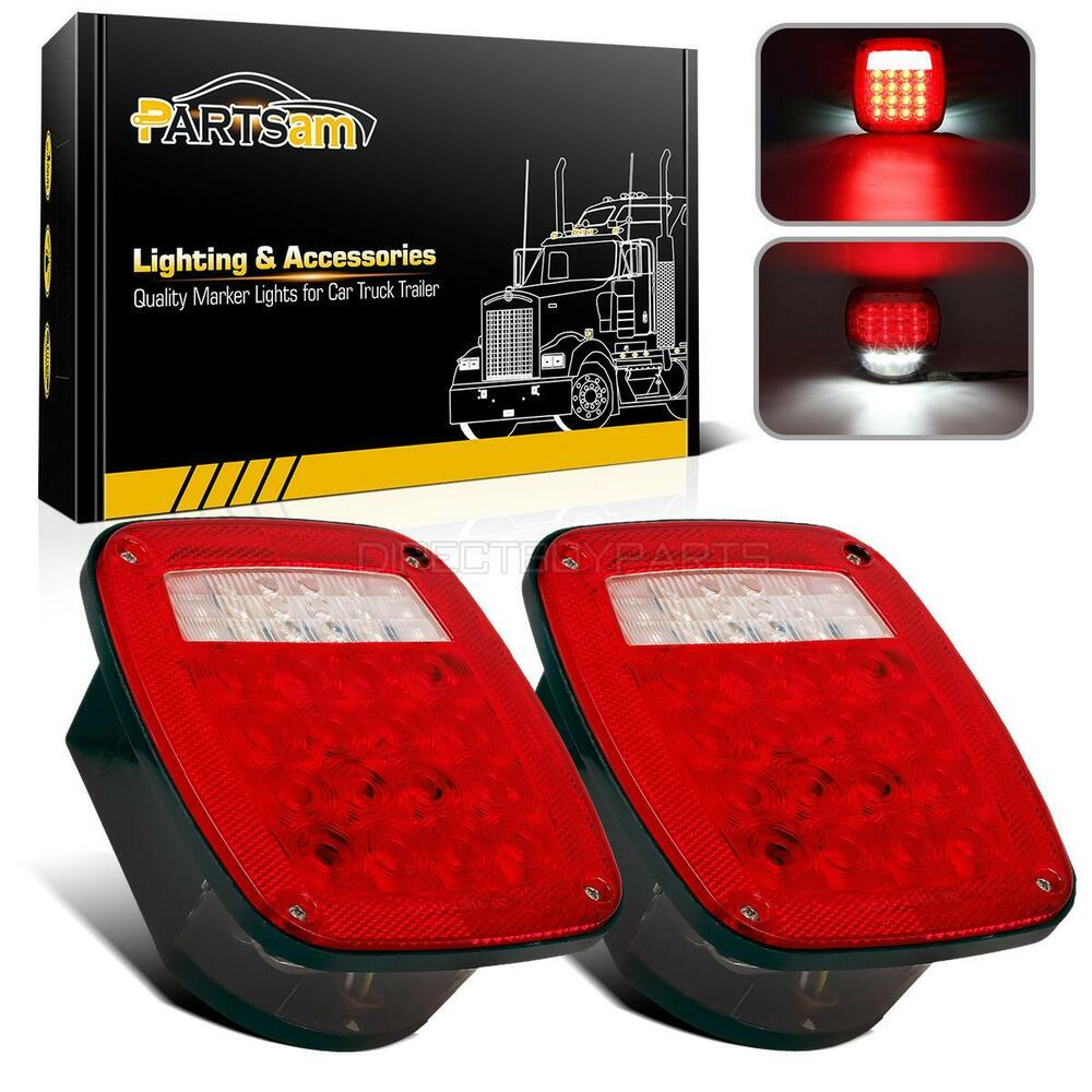 Pair Jeep Style 38led Stop Turn Tail Lights W License Lamp