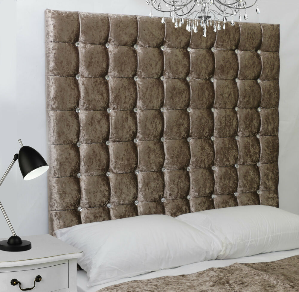 Monaco High Diamante Buttoned Bed Headboard Crush Velvet