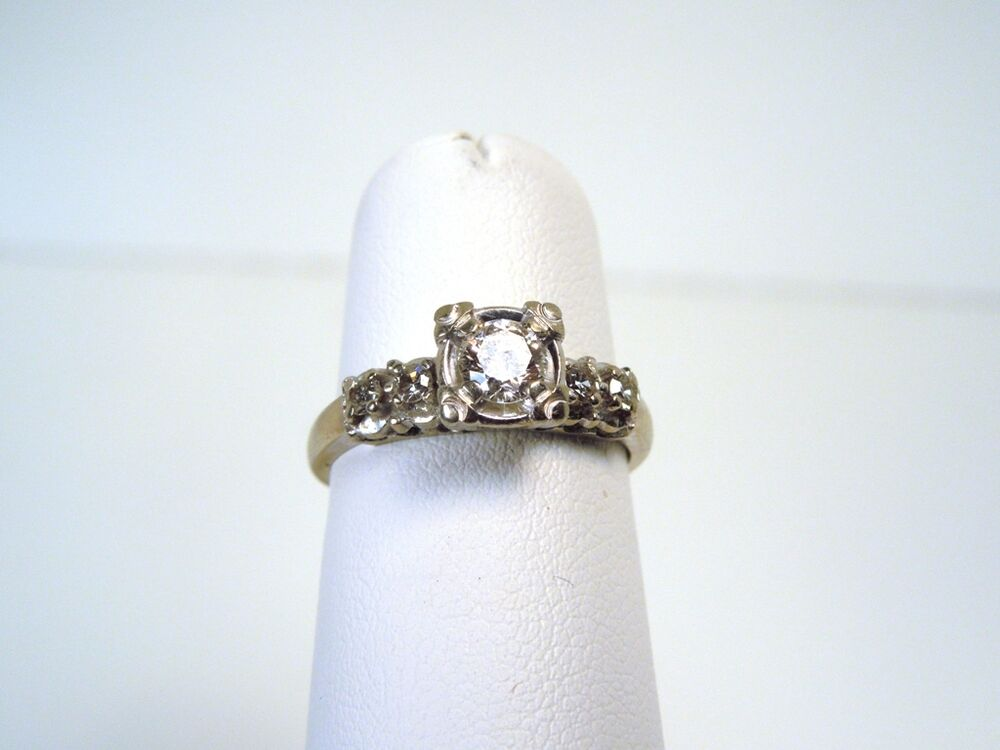 Vintage Keepsake 5 Stone Diamond 14kt White Gold