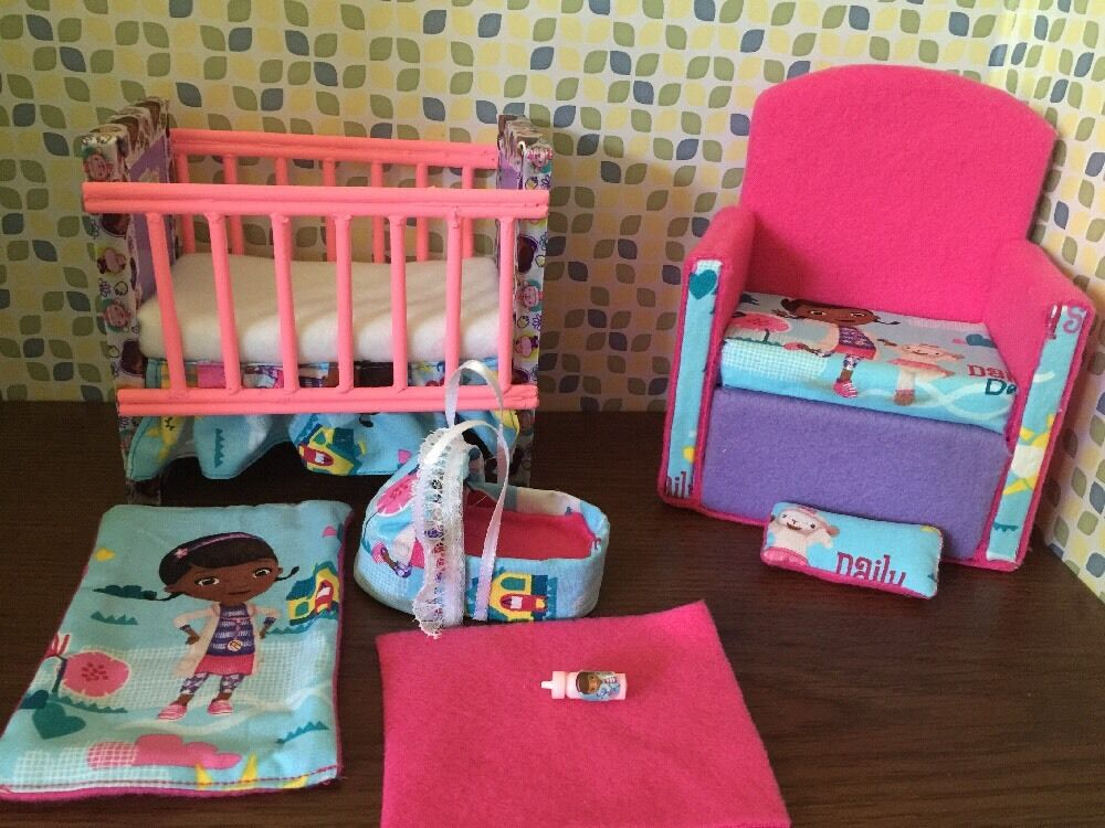 Barbie baby nursery set furniture crib sofa carrier for Upholstery fabric for baby nursery