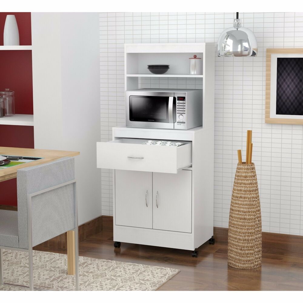 White Kitchen Shelf: Tall Kitchen Cabinet Storage White Microwave Cart Stand