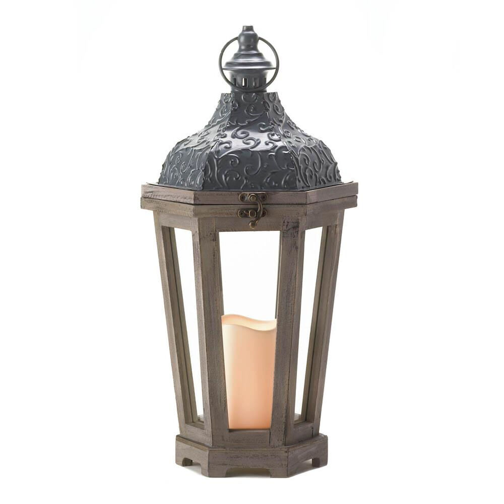 Large ivy top led candle lantern wood frame clear panes for Wire candle lantern