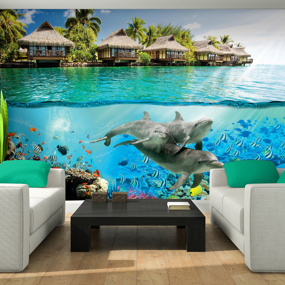 poster tapeten fototapete wandbild tapete hawaii delphin wasser tier 3193 p8 ebay. Black Bedroom Furniture Sets. Home Design Ideas