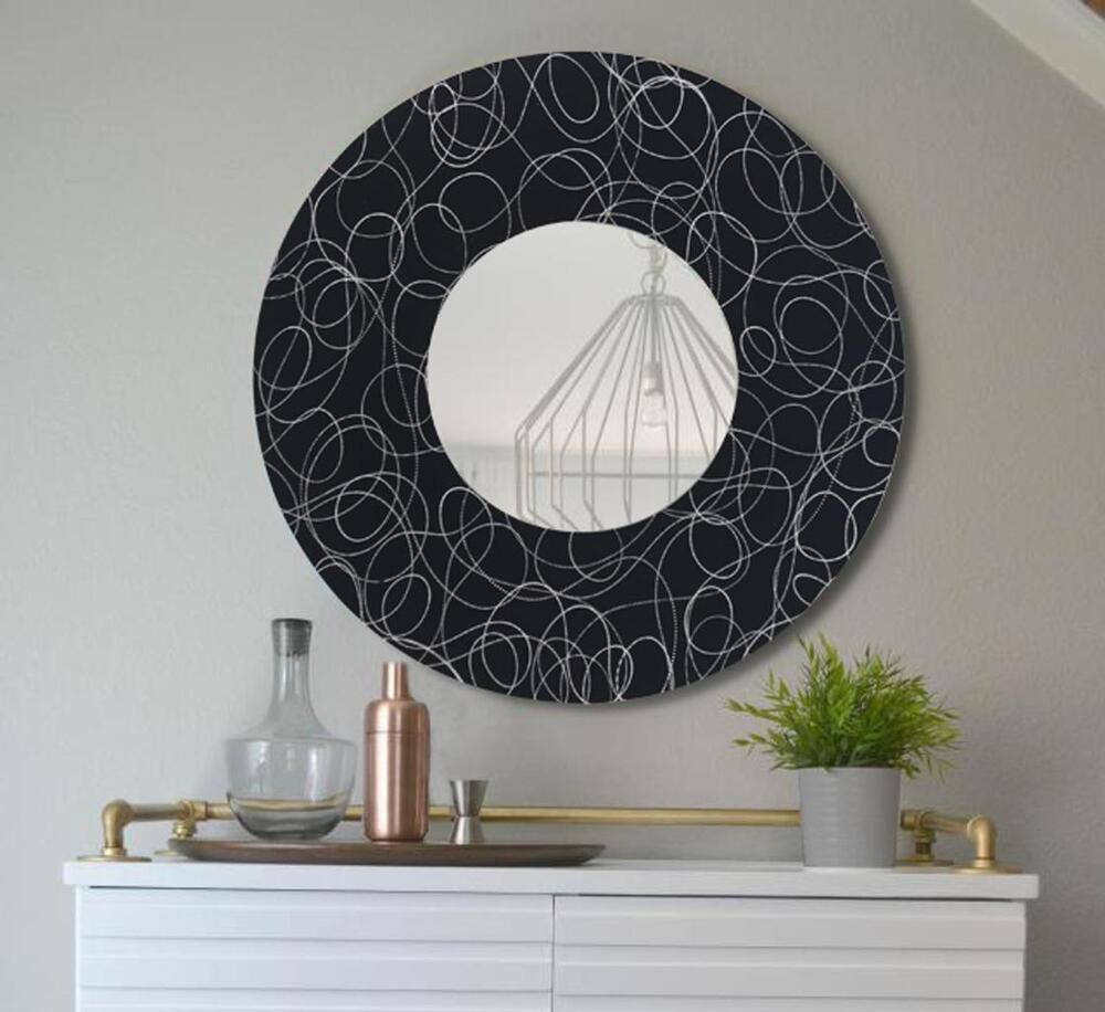Handmade black silver round wall mirror functional metal for Silver wall art