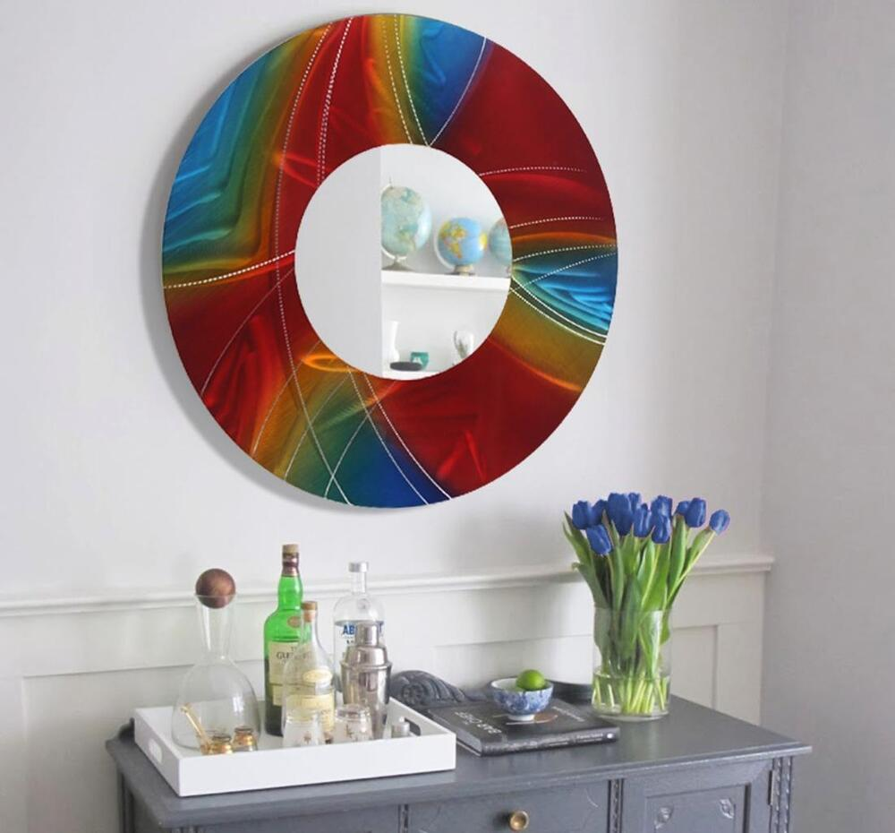 Large Round Wall Mirror Handmade Functional Wall Art Red ...