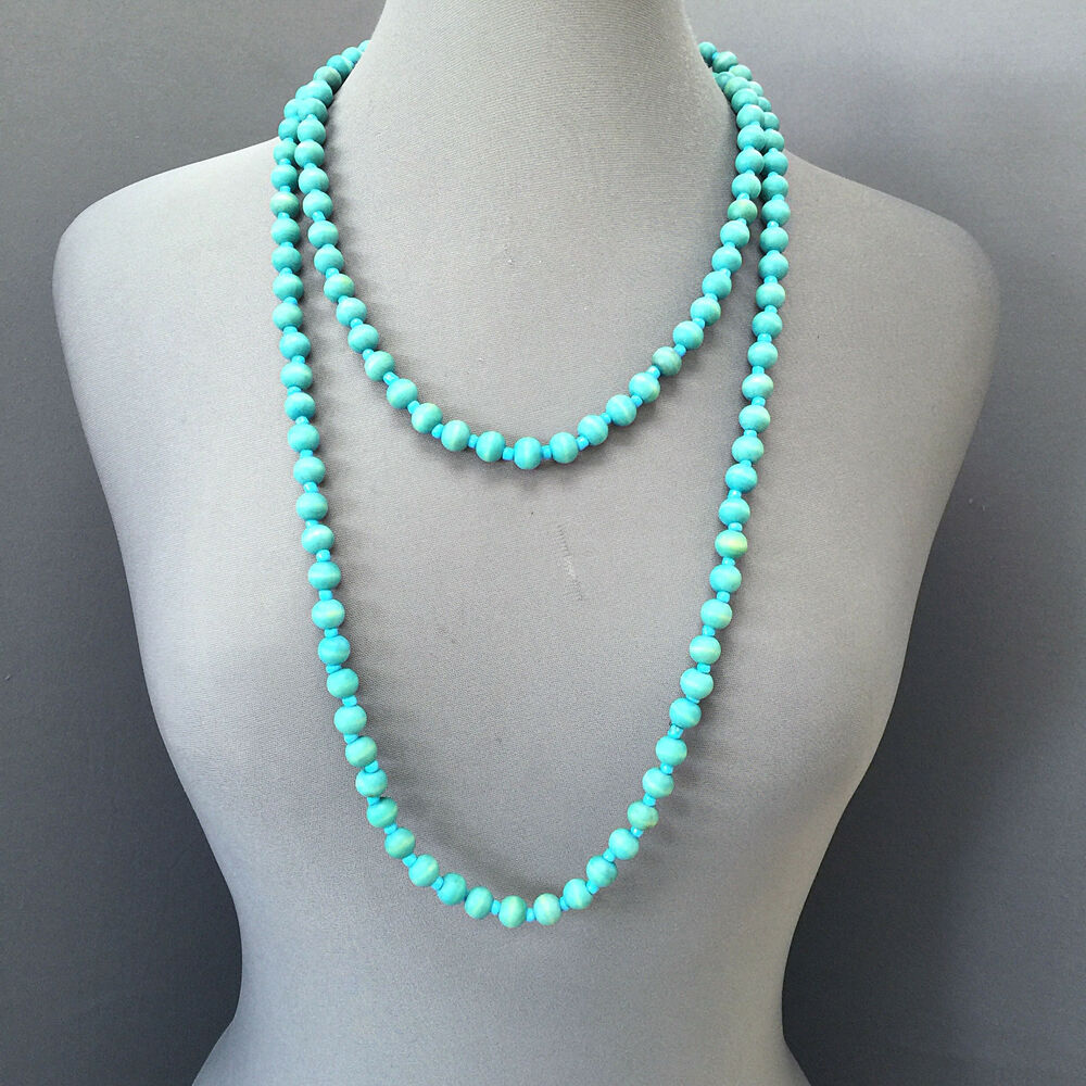 Long Turquoise Colored Wood And Bead Trendy Bohemian Style Necklace Ebay