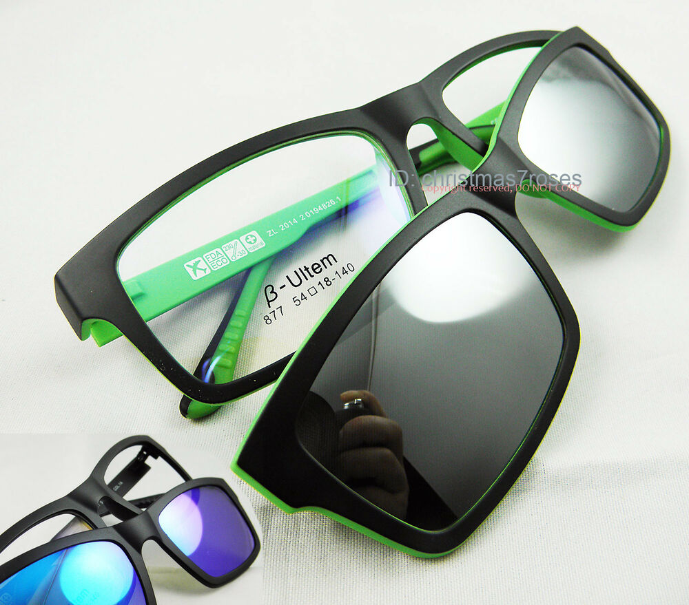 Men Eyeglass frame magnetic Clip on polarized sunglasses ...