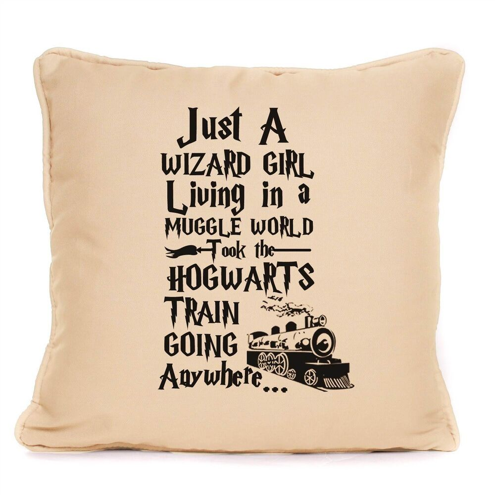 Harry potter just a wizard girl muggle world large cushion for Harry potter christmas present ideas