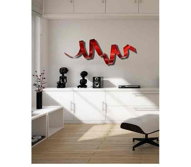 Wall Decor For Accent Wall : Red twisted metal wall art sculpture accent modern