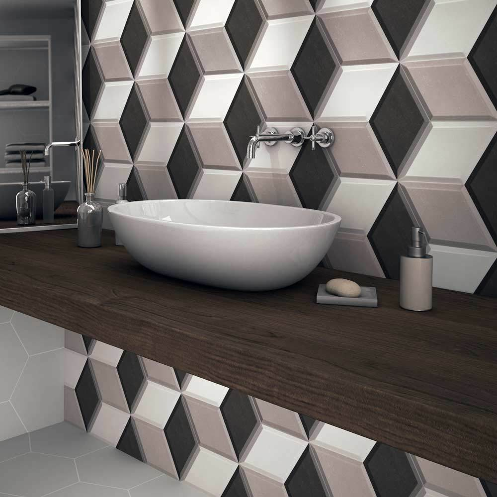 Hexa Cube 3d Effect Grey Porcelain Matt Wall Tiles