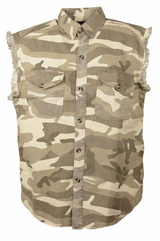 Men 39 s motorcycle sand camo cotton half sleeve cut off for How to cut sleeves off a shirt