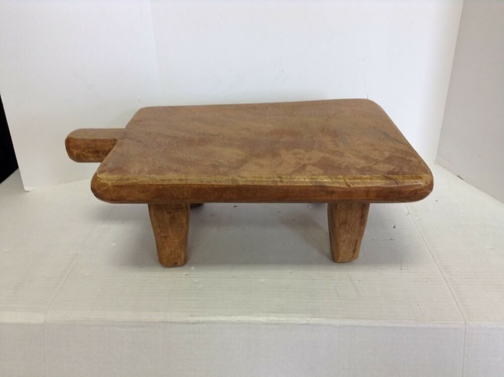 Pottery barn blond wood paddle pedestal cutting table