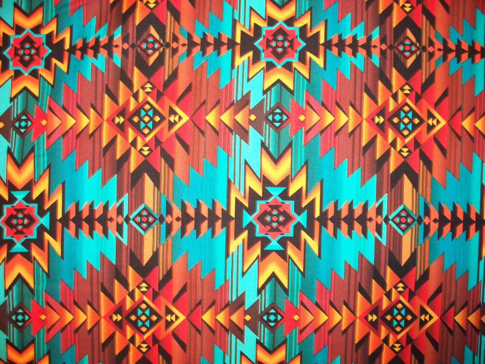 Navajo Native American Teal Tan Brown Print Cotton Fabric BTHY