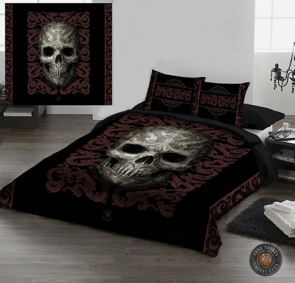 oriental skull duvet cover set for uk kingsize bed by. Black Bedroom Furniture Sets. Home Design Ideas