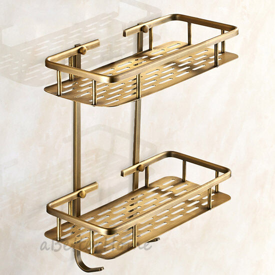 2 tier bathroom shower tub corner shelf wall mounted brass - Bathroom storage baskets shelves ...
