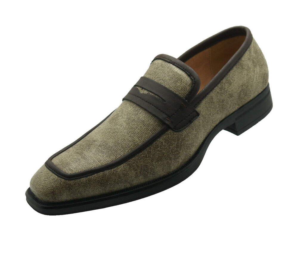 new s leather brown casual shoes slip on dress loafers