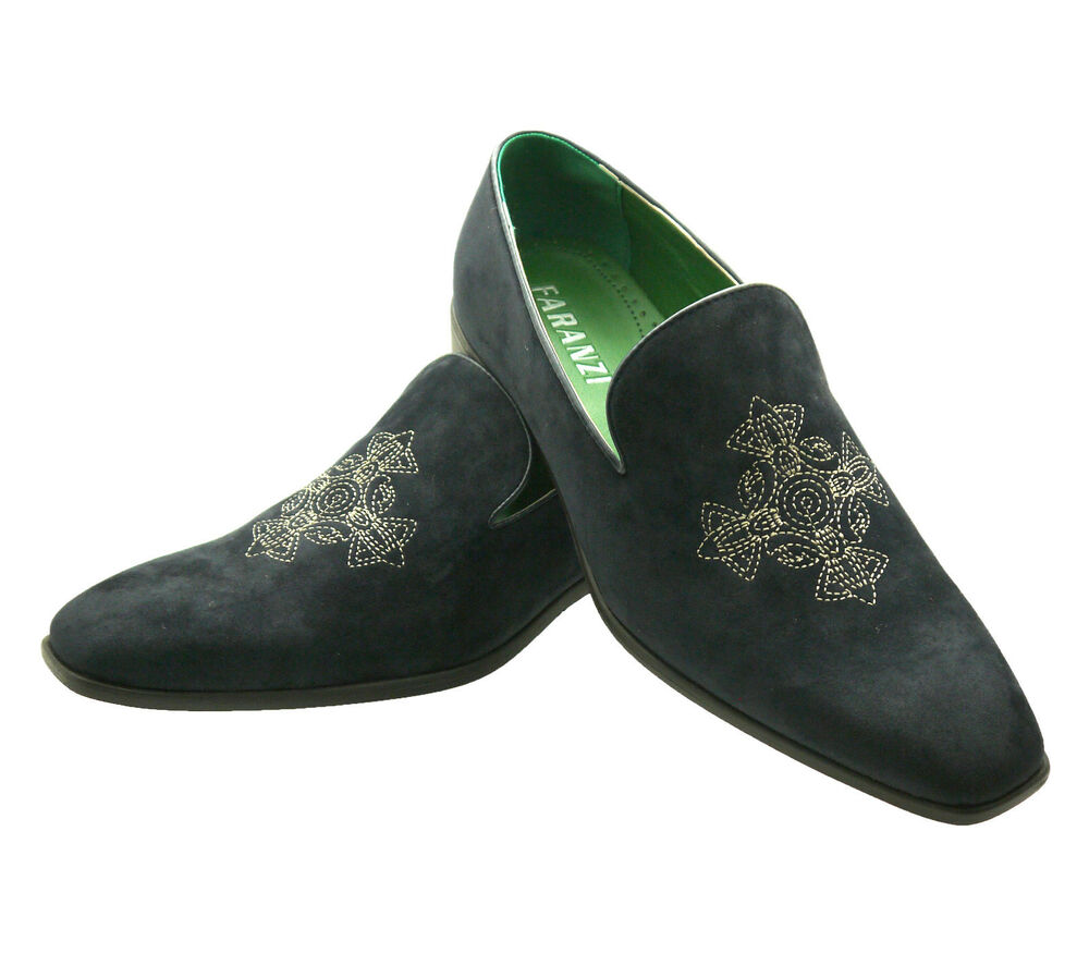 ccc12cb7fb717 ... Navy Suede Loafers: NEW FARANZI Men's Navy Green Casual Shoes Faux Suede  Slip