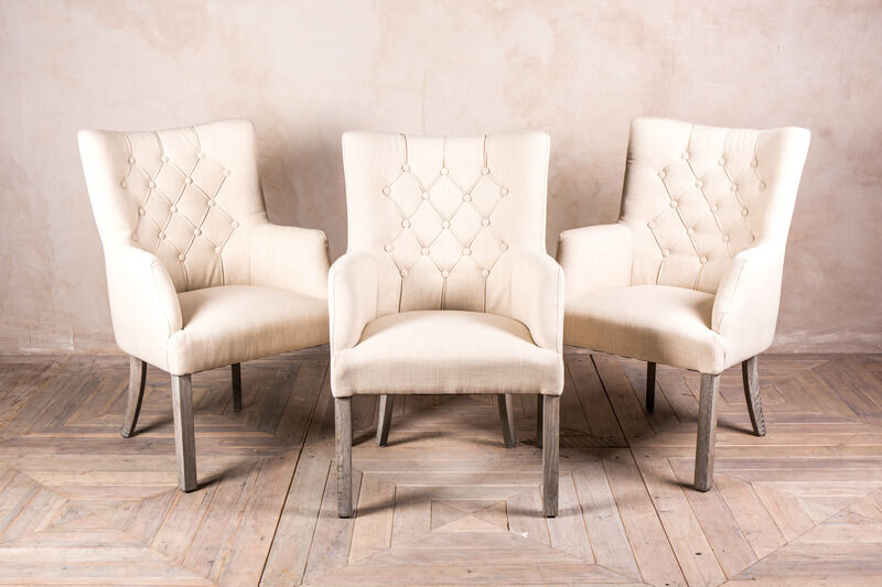 FRENCH STYLE UPHOLSTERED DINING CHAIR BUTTON BACK CHAIR IN CREAM LINEN EBay