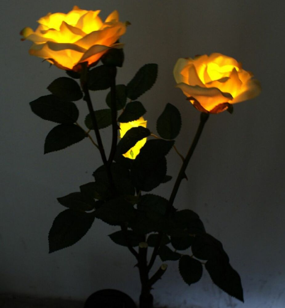 Solar powered flower rose light garden outdoor decor patio - Decorative garden lights solar powered ...