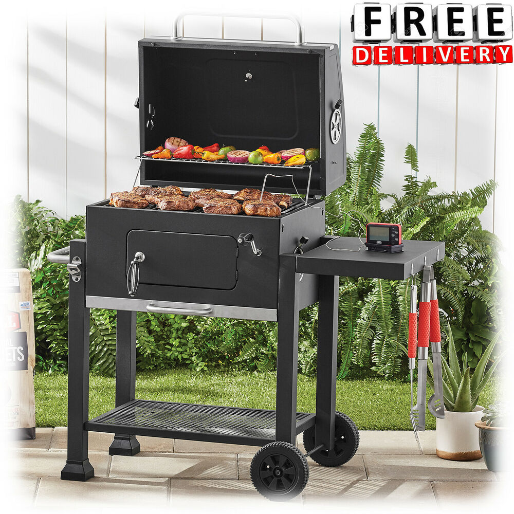 charcoal grill camping bbq outdoor backyard offset barbecue portable meat smoker ebay. Black Bedroom Furniture Sets. Home Design Ideas