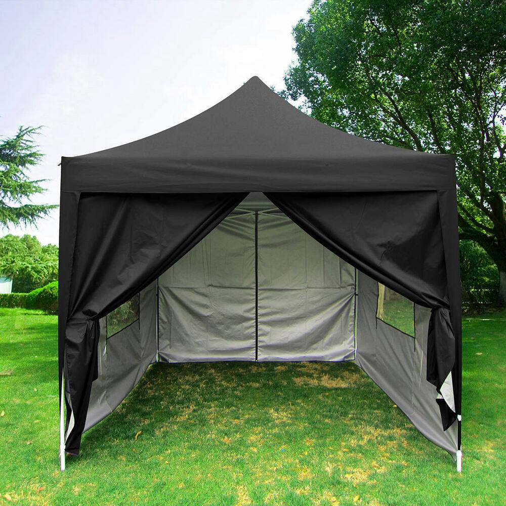 Quictent Privacy 8 X8 Black Pyramid Roof Pop Up Party Tent