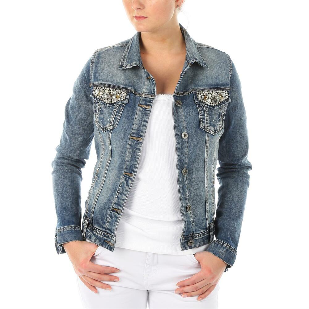 fashion damen jeans jacke jeansjacke perlen nieten bestickte taschen denim blau ebay. Black Bedroom Furniture Sets. Home Design Ideas