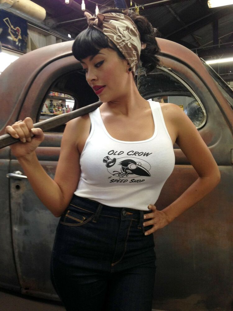 Old Crow Speed Shop Tanktop Old Crow Black And White