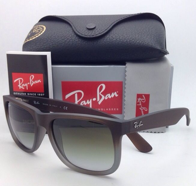 0379bcb8a7 Ray Ban Rb4165 Justin Sunglasses Rubber Brown On Grey Frame Greenhouse