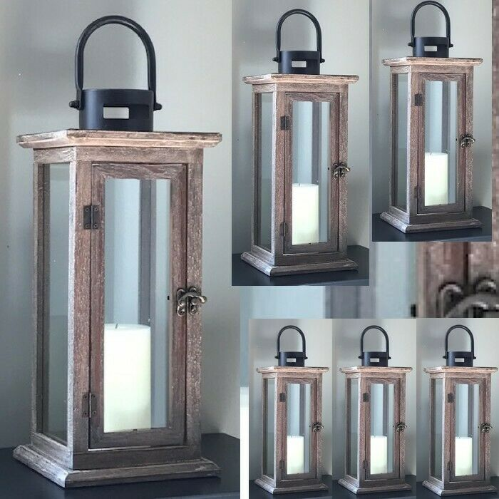 Rustic wood candle lantern large tall candleholder