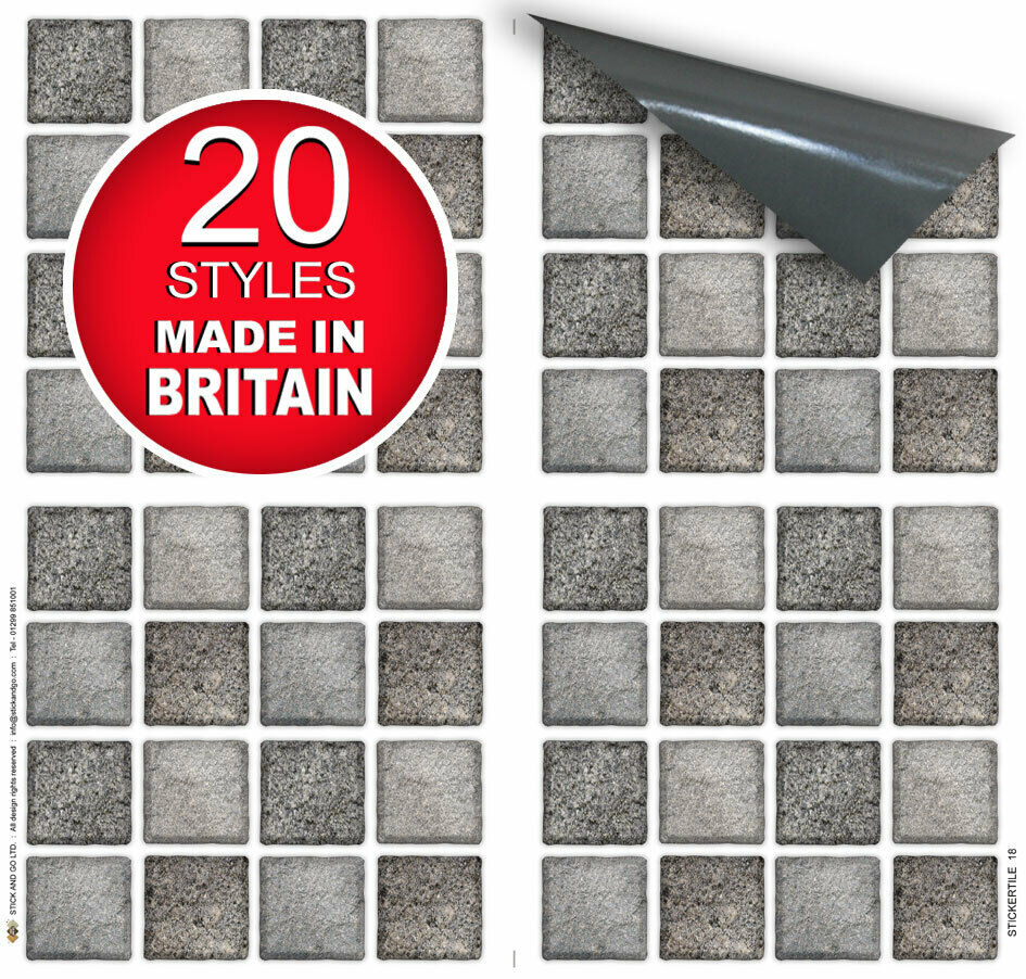 "Kitchen Tiles Ebay: 4 Tile Transfer Stickers 6"" X 6"" GRAPHITE MOSAIC For Kitchen & Bathroom Tiles"