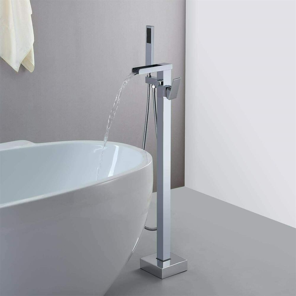 Chrome Floor Mounted 1 Handle Waterfall Freestanding