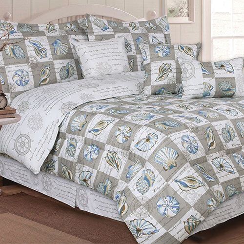 Nautical Bedding King: Nautical Elite Ocean Seashell 7 Piece Bed In Bag Comforter