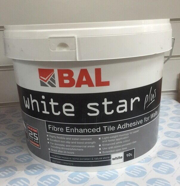 Bal White Star Plus Water Resistant Tile Adhesive 10