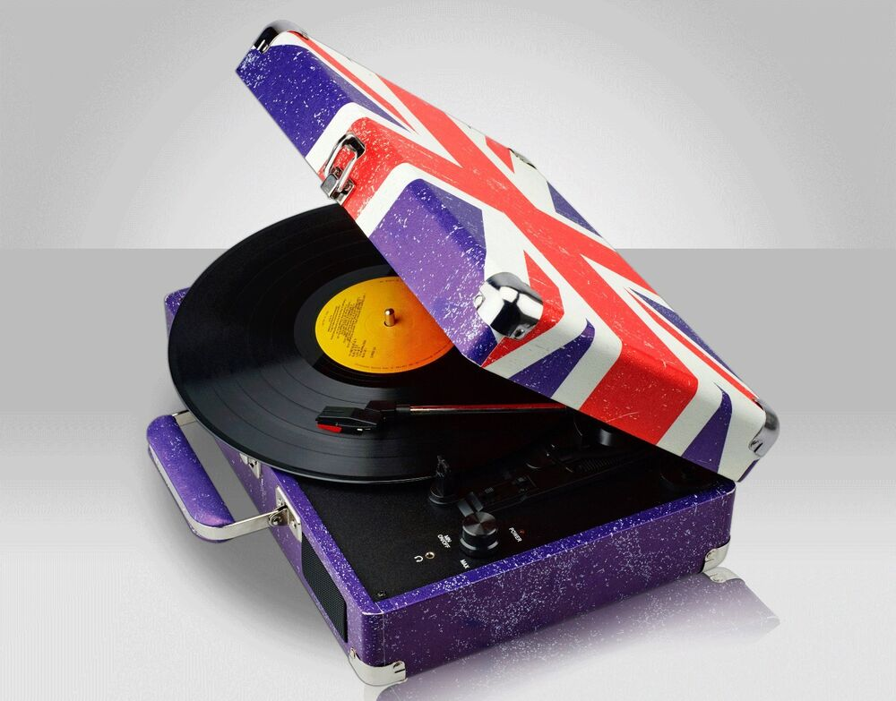 Retro Union Jack Portable Briefcase Vinyl Turntable Record