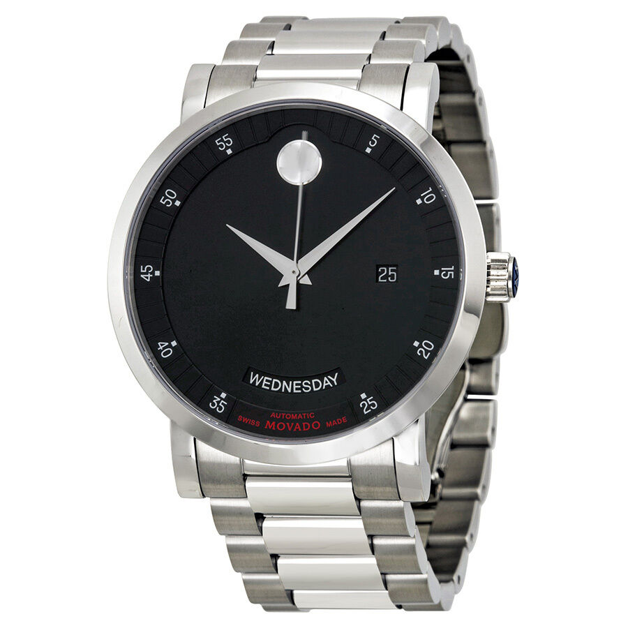 movado label automatic black stainless steel mens