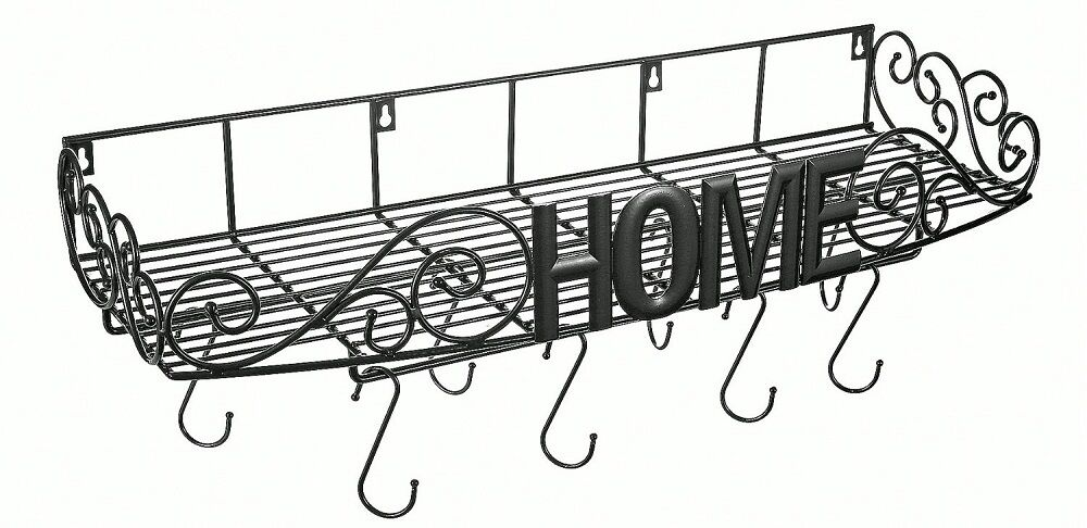 Pot Pan Rack Hook Shelf Storage Cookware Holder Wall Mount