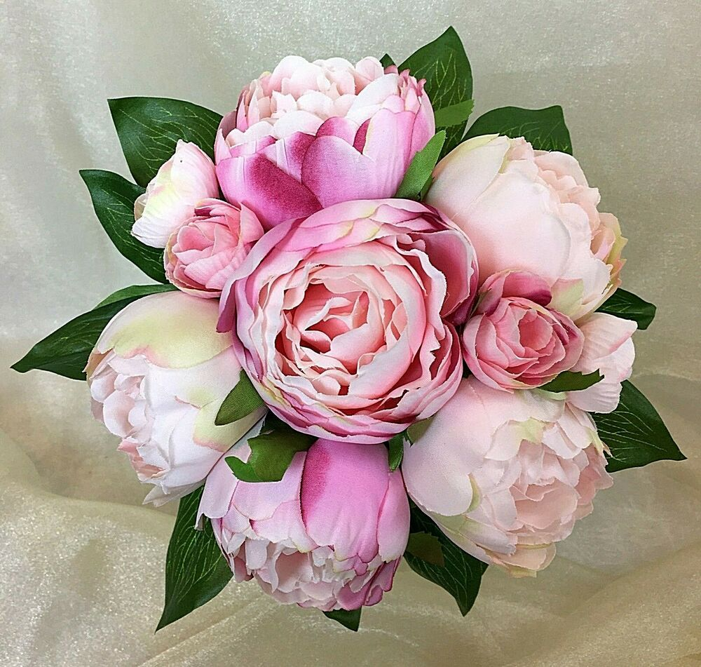 Real Vs Fake Flowers Wedding: Light Pink/Pink Peony Flowers Posy Artificial Silk Flower