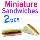 Dollhouse Miniature Kitchen Food 2 x Vegetable Cheese Ham Sandwiches