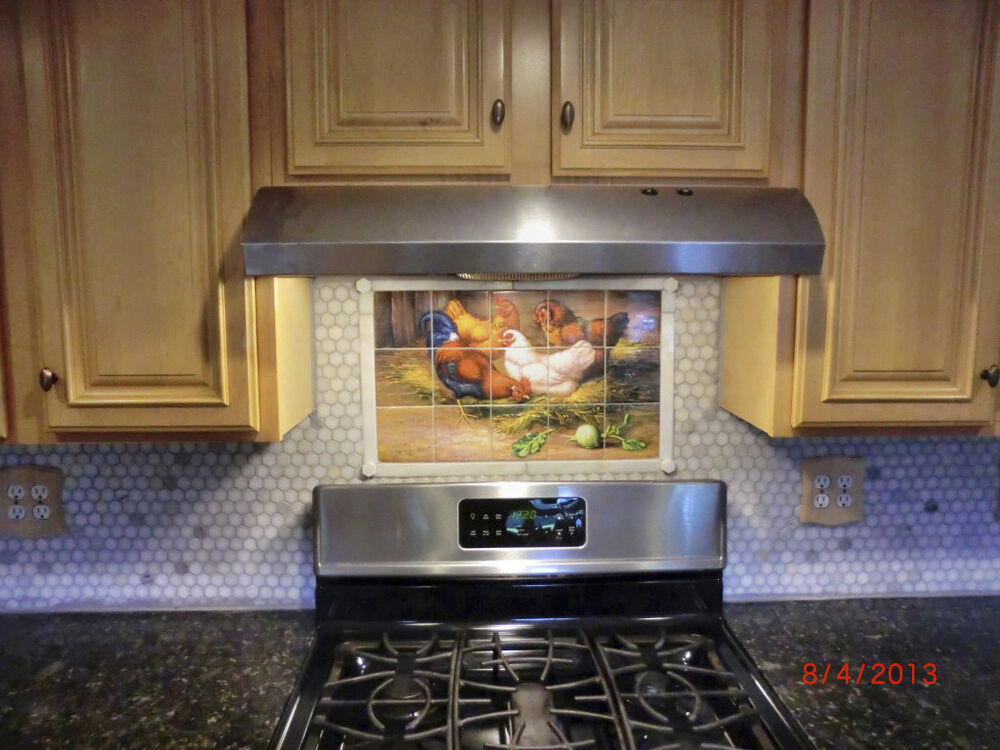 X art mural ceramic rooster backsplash decor for Backsplash mural